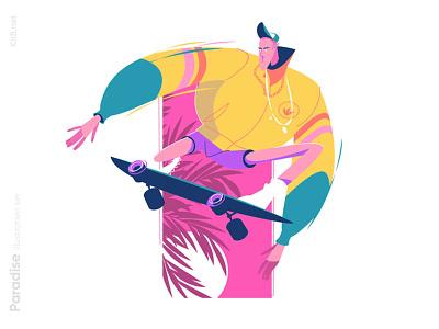 Guy riding skateboard illustration sport ride guy summer skate leasure man character flat vector illustration kit8