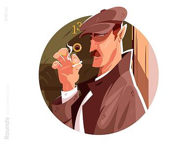 Spy character illustration investigation spyman man character flat vector illustration kit8