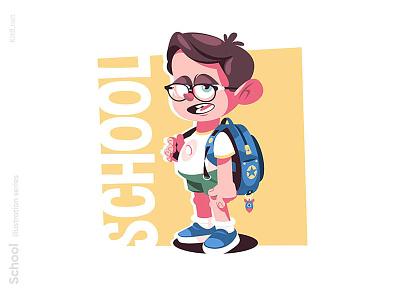 Nerd boy illustration guy schoolboy learning education man character flat vector illustration kit8