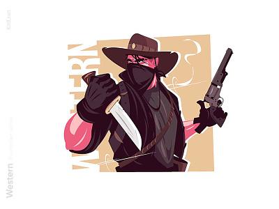 Cowboy with pistol illustration agressive face mask pistol gun wild west wildwest western cowboy man character flat vector illustration kit8