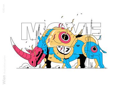 Fantastic rhino illustration sport agressive animal rhino robot character flat vector illustration kit8