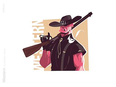 Head hunter character illustration cowboy warrior gun hunter wildwest western man character flat vector illustration kit8