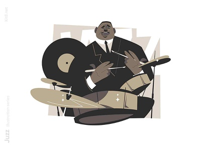 Jazz drummer character illustration american afro black performer band player jazz music drummer drumm man character flat vector illustration kit8
