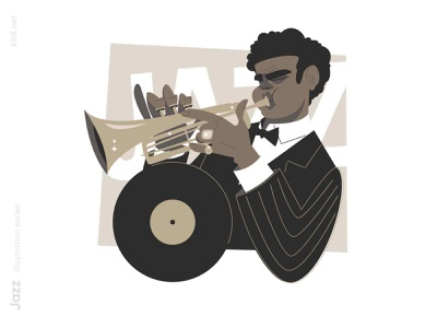 Jazz Trumpet player illustration band music trumpet play player jazz man character flat vector illustration kit8