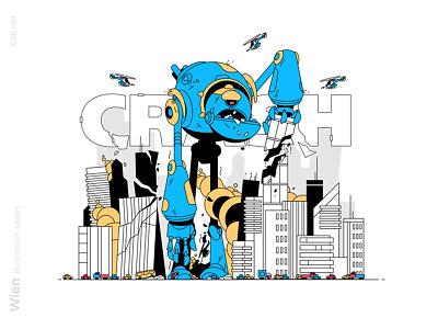 Giant destroyer robot illustration attack helicopter bad alian city destroy crush mecha robot man character flat vector illustration kit8