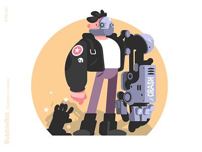 Man cyborg illustration mecha crush robot cyborg man character flat vector illustration kit8