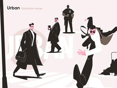 URBAN illustration series detective run afroamerican black businessman business homeless police life urban woman girl man character flat vector illustration kit8
