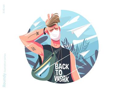 Student / employee character illustration shirt bag tattoo fun mask guy education back to school back to work man character flat vector illustration kit8