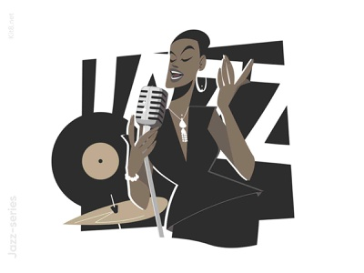 Afro american jazz singer illustration american afro black band stage microphone music jazz singer woman girl character flat vector illustration kit8