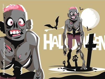 Walking zombie character illustration smile scary night brain skeleton dead walking halloween zombie man character flat vector illustration kit8