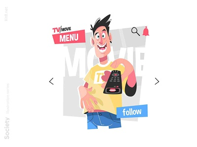 Man with TV remote illustration happy watch remote movie tv man flat character vector illustration kit8