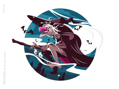 Witch flying on broomstick illustration night fly baba yega scary hallowing broomstick woman character flat vector illustration kit8