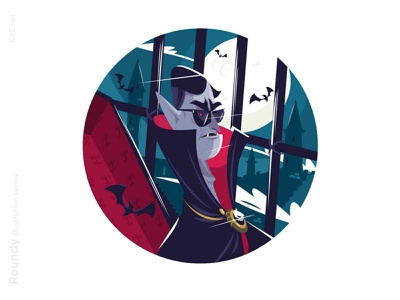 Dracula vampire character illustration mad subglasses night vat vampire dracula man character flat vector illustration kit8