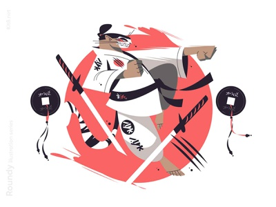 Samurai illustration japan sword katana fight warrior tiger samurai man character flat vector illustration kit8
