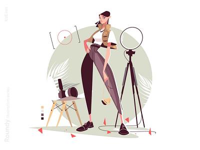 Girl model posing in studio illustration softbox beautiful model posing photo camera photo studio photo shoot woman girl character flat vector illustration kit8