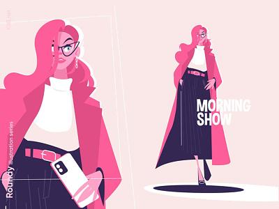 Girl fashionably dressed illustration beautiful walk phone glasses coat fasion woman girl character flat vector illustration kit8