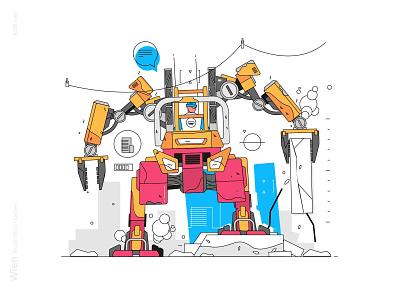 Exoskeleton loader illustration strong bulder exoskeleton robot loader construction man character flat vector illustration kit8