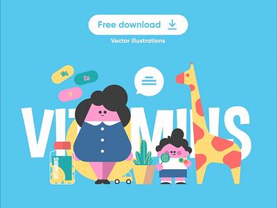 Vitamins illustration series - Free download download free fun sleep toy car giraffe character flat vector illustration kit8 vec mother mom vitamin health grow boy kids