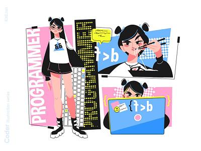 Girl programmer illustration app young keydoard code programming chinese eat food coder woman girl character flat vector illustration kit8