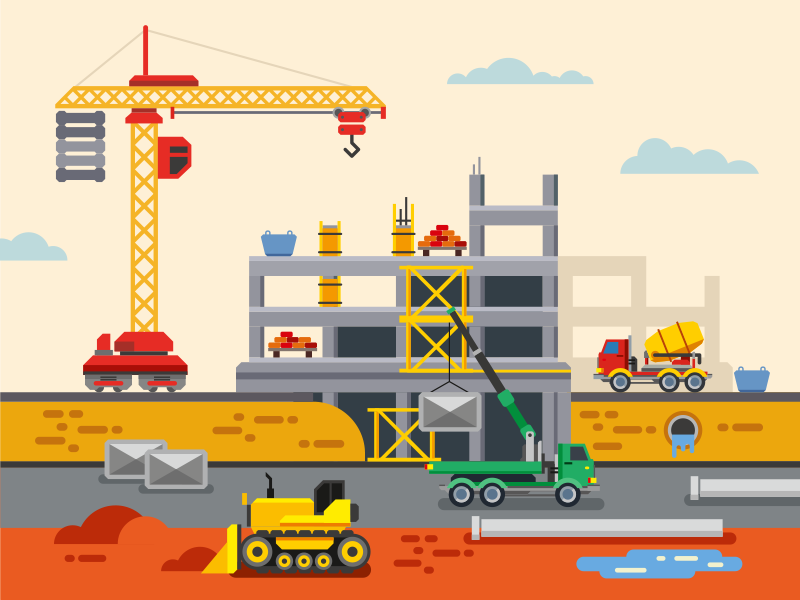 Building Construction kit8 building construction vector illustration crane