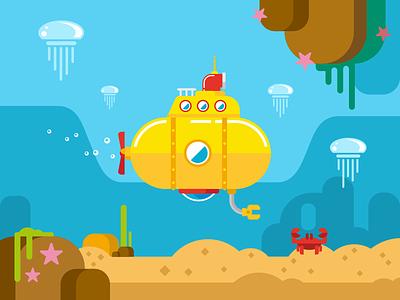 Submarine illustration sea cartoon periscope submarine kit8 vector flat jellyfish yellow illustration water under