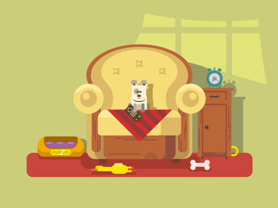 Home Pet furniture chair puppy animal character dog pet home illustration vector flat kit8