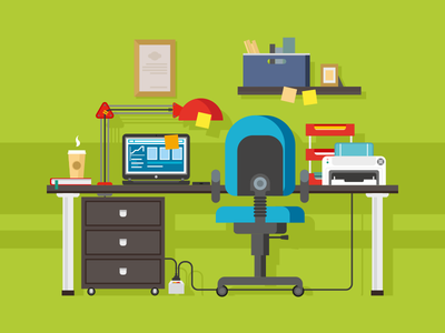 Office workplace workspace chair furniture computer workplace desk work office illustration vector flat kit8
