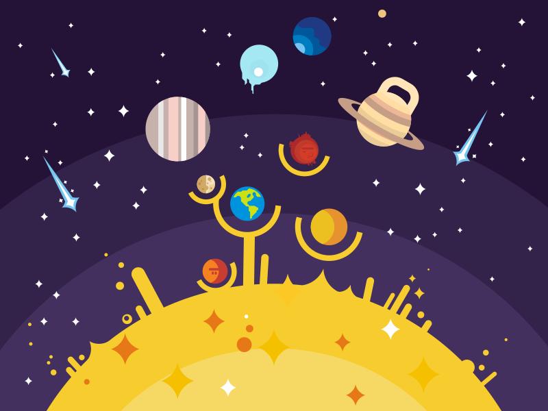 Solar System mars venus system solar sun earth space planet illustration vector flat kit8