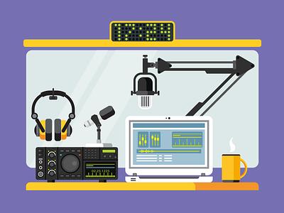 Radio station studio controle laptop workplace studio microphone broadcast station radio illustration vector flat kit8