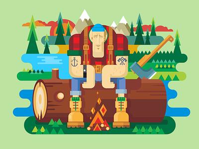 Sawyer sitting on log character firewood woodcutter axe saw logger sawyer lumberjack illustration vector flat kit8