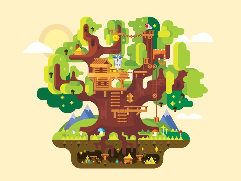 Fabulous tree house gold fairy fabilous buldung house illustration. tree vector flat kit8