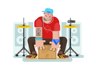 Drummer play on cajon