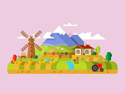House in village, farm field background farm landscape mountain nature village house illustration vector flat kit8