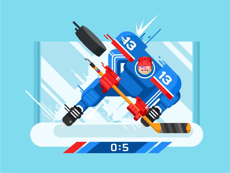 Hockey player character play sport skate stick man character player hockey illustration vector flat kit8