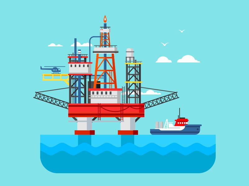 Drilling rig at sea extraction gas oil platform osean sea rig drilling illustration vector flat kit8
