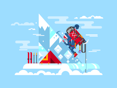 Climber conquers the summit ski backpack character man summit mountain climber rock illustration vector flat kit8
