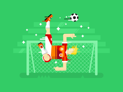 Soccer player sport goal character gate jump player soccer football illustration vector flat kit8