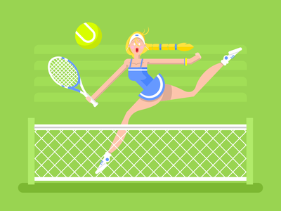 Woman tennis player character sport girl player tennis woman illustration vector flat kit8