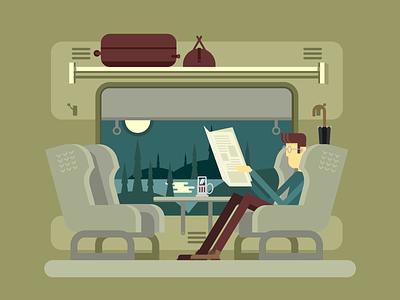 Passenger train chair character train passanger illustration vector flat kit8