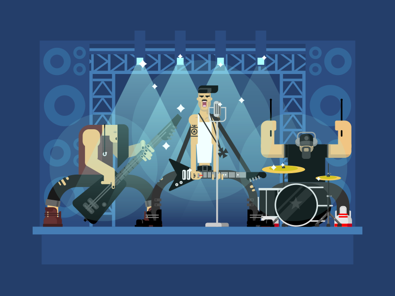 Rock band event drum stage concert music guitar band rock illustration vector flat kit8
