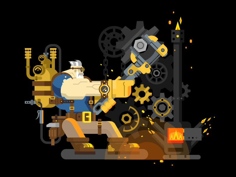 Steampunk engineer repairman technoligy macn industrual character engineer steam illustration vector flat kit8