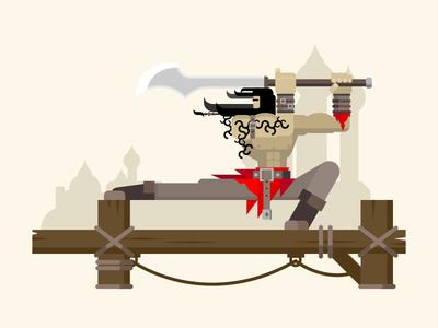 Prince of Persia pose fighter sword man persia prince arab ancient illustration vector flat kit8