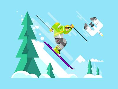 Skier eagle mountain ski snow winter character sport skier illustration vector flat kit8