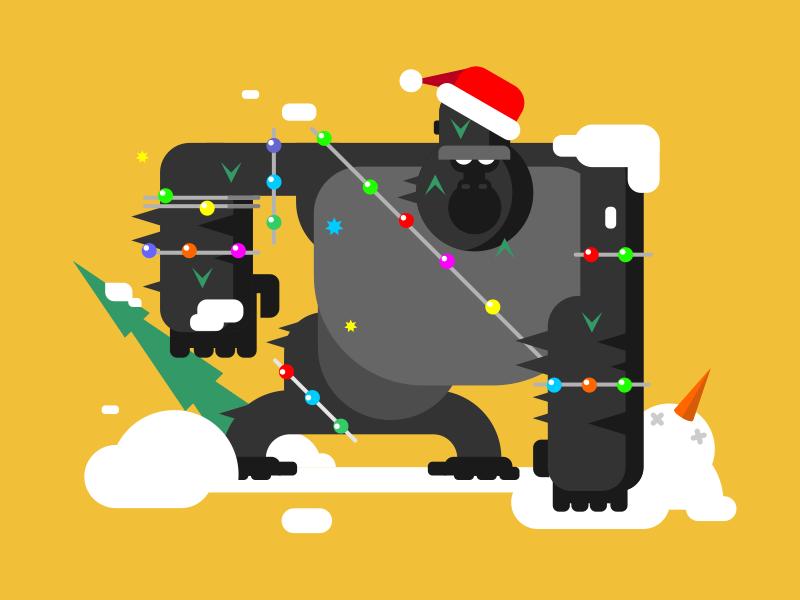 Christmas Gorilla ape monkey fun character tree new year gorilla christmas illustration vector flat kit8