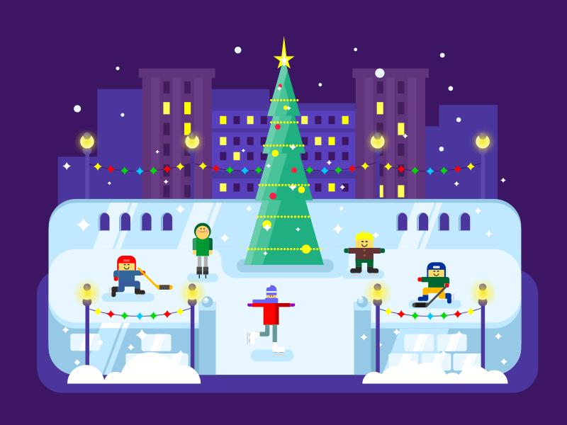 Skating rink Christmas tree new year winter holiday city rink skating tree christmas illustration vector flat kit8