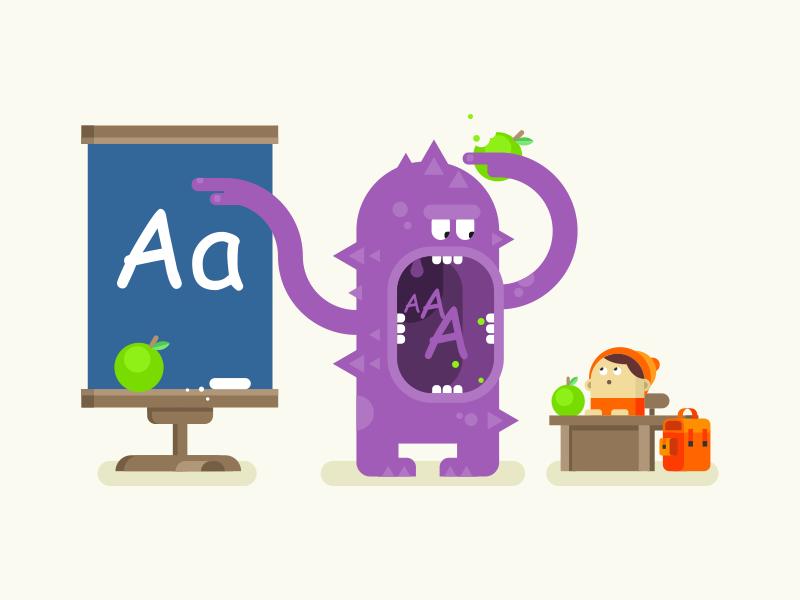 Monster teaches alphabet lesson teach school kid monster illustration vector flat kit8