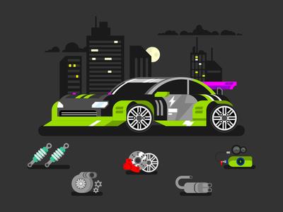 Tuned car nitro race parts sport tuned car illustration vector flat kit8