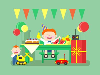 Child birthday child cake box prezent play toy birthday kid illustration vector flat kit8