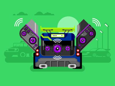Car Audio sound tuned back speakers parking audio car illustration vector flat kit8