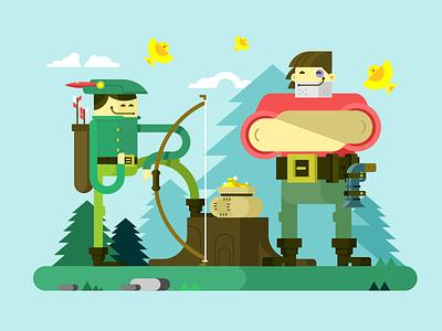 Robin Hood weapon bow arrow character hood robin illustration vector flat kit8